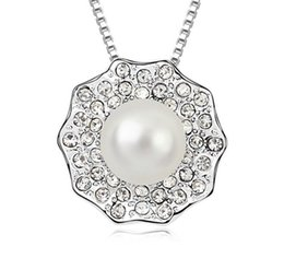 Pearl Day Canada - new fashion Woman SWAROVSKI element Pearl Necklace Yearn day and night Europe and America Crystal Pendant Diamond Ornaments Pendant jewelry