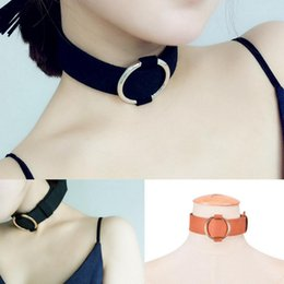 womens choker collars Australia - Charms Womens Faux Suede Leather Wide Choker Necklace Circle Collar Ladies Sexy Jewelry