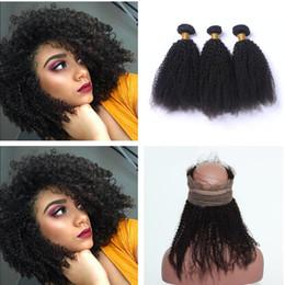 $enCountryForm.capitalKeyWord NZ - Afro Kinky 360 Lace Frontal With Bundles Brazilian Human Virgin Hair Afro Kinky Curly Hair With 360 Lace Frontal Pre Plucked