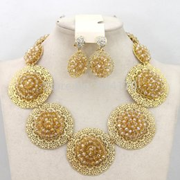 $enCountryForm.capitalKeyWord Canada - fashionable jewelry nigerian wedding gold crystal beads african beads jeweley set bracelet pendant necklace & stud earrings Jewelry Set