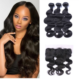 Lace frontaL Light brown online shopping - Brazilian Straight Body Wave Hair Bundles With Lace Frontal x4inch Virgin Human Hair Weaves inch G EASY
