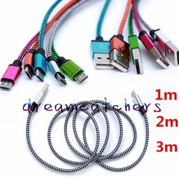$enCountryForm.capitalKeyWord Canada - 1M 2M 3M Wave Braided Aluminum USB Cable Micro Fabric Nylon Data Sync Steel Charger Adapter Colorful Cord Wire for Samsung S7 HTC LG