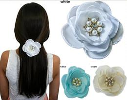 Flower Girl Rhinestone Hair Clips Australia - baby girls hair clip White Satin Flower Rhinestone Pearl Hair Clip Wedding Hair Clip Bridal Bridesmaid hair jewelry ! 10pcs