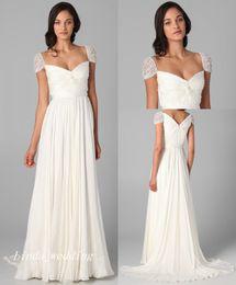 $enCountryForm.capitalKeyWord NZ - Elegant White Wedding Dresses Beautiful Cap Sleeves Chiffon Long Zipper Closure Women Bridal Party Gowns
