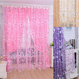 scarf valances NZ - Floral Tulle Voile Door Window Curtain Drape Panel Sheer Scarf Valances