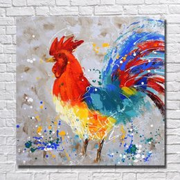 Animal Handmade Canada - Free shipping items cheap price for wholesale handmade animal rooster oil painting for modern living room wall decor