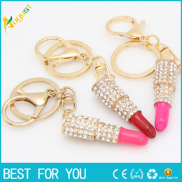 Gold Pink Rings For Women Australia - Lipstick Rhinestone Crystal Key ring Charm Pink Pendant Car Gold Key Chain For Woman Gift new hot