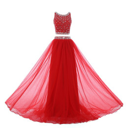 Barato Brilho Chiffon Prom-Glitter Two Pieces Red Cheap Prom Dress Tulle 2018 com Rhinestone Crystal Beaded Oco Back Dresses Evening Party Wear Vestidos formais