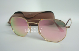 $enCountryForm.capitalKeyWord NZ - 1Pair Woens Hexagonal Metal Sunglasses Irregular Personality Sun Glasses Gold Frame Pink Mirror Glass Lenses 48MM With Brown Case