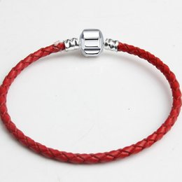 Silver European Style Bracelet Chain NZ - 30pcs Brand New Mixed Size Silver Leather Snake Chain for Big Hole European Style Beads fit Murano Beads Pandora DIY Bracelets Bangles Red8
