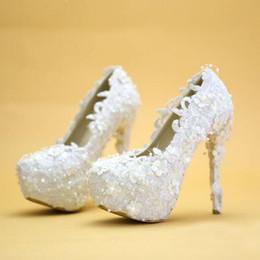 elegant brides shoes 2019 - Wedding Shoes White Lace Elegant Bride Dress Shoes Thin Heel Platform Bridesmaid Shoes 2016 New Designer Women Party Pum