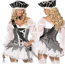tv adults free Canada - high quality Women Adult Captain Pirates Costume Skull Fancy Dress Caribbean Halloween Cosplay Outfit Free Shipping