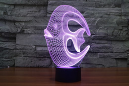 Colorful Cartoon Fish Canada - 2017 angelfish coral fish 3D Optical Lamp Night Light 9 LEDs Night Light DC 5V Colorful 3D Lamp