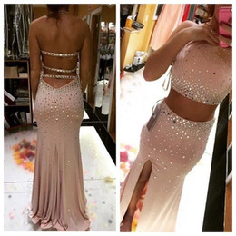 Viste Dos Partes Laterales Baratos-2016 Champaña Rosa Sparking Crystal Prom Dresses Sexy backless Vestido de dos piezas Sweep Train Robe de Soiree Side Split Sirena formal vestido de noche