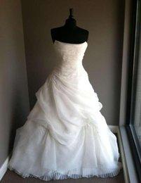Dress Cor Australia - Bridal Ball Gown Strapless Ruching Draped Pleating Appliques Organza Real Made Custom Size Wedding Dress Robe De Mariee COR-1051