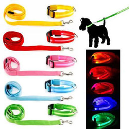 Medium Dog Collars Leashes Canada - Pet Dog LED Collar and Leash Cat Soft Glossy Reflective Safety Buckle Pet Supplies Dog Collars + leashes Colorful 160927