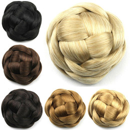 Rollers Chignon Canada - Wholesale-100g, Large Size, Knitted Hair Chignon, Synthetic Donut Roller Hairpieces, Hair buns