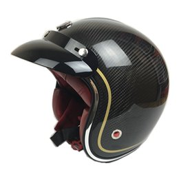932a91740bc 100% Original Ruby Brand Carbon Fiber Vintage motocicleta casco Vespa 3 4  cara abierta Retro Scooter casco capacete da motocicleta