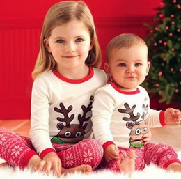 Ensembles De Vêtements Mignons Pour Garçons Pas Cher-New Christmas Baby Set Enfants Cute Cartoon Santa Elk Tops à manches longues Tshirt + Pants Boys Girls 2pcs Set Children Outfits Costume de vêtements