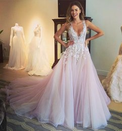 Pink Appliques Canada - Multicolor Wedding Dresses Light Pink Tulle Deep V Neck Appliques Sexy 2016 Bridal Gowns With Sweep Train Custom Made Cheap Wedding dress