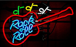 """Bar Guitar NZ - Rock Roll Guitar Neon Sign Commercial Custom Hand-crafted Beer Bar Store KTV Home Decoration Real Glass Tube Display Neon Signs 17""""X14"""""""