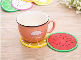 $enCountryForm.capitalKeyWord Canada - by dhl fedex 300pcs lot Colorful Fruit Shape Coasters Cup Coffee Heat Insulation Mat Dining Table Waterproof Silicone Pads