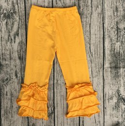 $enCountryForm.capitalKeyWord Canada - Wholesale Gold Triple Layers Ruffle Pant Baby Kids Icing Flare Pants Cheap Baby Icing Leggings Pants