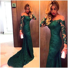 $enCountryForm.capitalKeyWord Canada - New Arrival Elegant Green Lace 2016 Mermaid Long Sleeve Prom Dresses Sexy Sheer Emerald Formal Evening Gowns Party Dresses vestido de festa