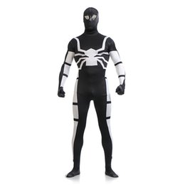 Hommes En Cuir Noir Pas Cher-Brand New Black and White Lycra Spandex Full Body Zentai Suit Superhero Spider-man Cosplay Bodysuit Costume sexy pour Halloween