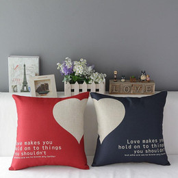 Valentine Pillows Gift Canada - 45cm Red Heart Valentine Day Gift Cotton Linen Fabric Throw Pillow 18inch Handmade New Home Office Bedroom Decoration Sofa Back Cushion