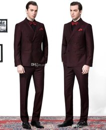 $enCountryForm.capitalKeyWord Canada - Burgundy Double Breasted Two Buttons Tuxedos Stylish High Quality Custom Made Suits for Men Vintage Two Pieces Groom Suits