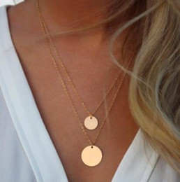 Double Layered Gold Necklace Canada - Double Layered Gold Sequin Double Strand Necklace,Layering Disc , Boho Necklace, Beach Jewelry