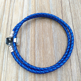 Woven silver chain online shopping - Authentic Silver Blue Double Woven Leather Bracelet Fit European Pandora Style Jewelry Charms Beads Handmade CSB D