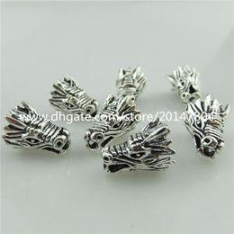 20112 10 pezzi vintage argento lega santo animale vivido maschio drago testa distanziatore perline in Offerta