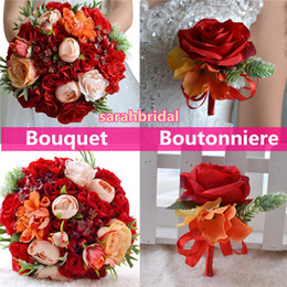 Discount roses dried flowers - Beach Bouquets boutonniere Bridal Brides Bridesmaid Holding Flowers Orange and Red Hot Organic marriage for Country Rust