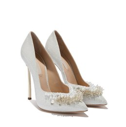 size 12 evening shoes 2019 - Cinderella Crystal Wedding Shoes 2018 Pointed Toe 12 cm High Heel Luxurious Pearls Sequined Plus Size Women Pumps Party