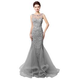 Cutom hecho Open Back gris satinado sirena vestidos de noche rebordear 2016 Real Photo Sheer cuello mujeres Prom Vestidos largo robe de soirée LX006
