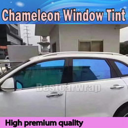 shipping film for cars UK - Blue High-performance Chameleon Window Tint Film Car Film PET Window Tints For Auto Window Graphics Free Shipping VLT 60% SIZE 1.52X30M