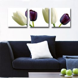 pictures peonies UK - Home decoration unframed 3 Pieces art picture free shipping Canvas Prints tulips Abstract cartoon oil painting tree Sketch flower peony