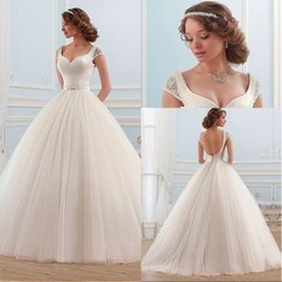 Vestidos Noiva Ball Gown Canada - Sexy Cap Sleeve Wedding Dress A-line vestidos de noiva Ball Gown Bridal Gowns Zipper Back Luxury Appliques Beaded Backless Wedding Dress