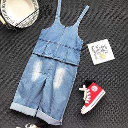 Barato Macacão Jeans Menina Denim-Kids Girls Denim Overalls Baby Girls Wash Blue Casual Suspender Pants Girls Autumn Loose Pants 2017 Baby Clothes