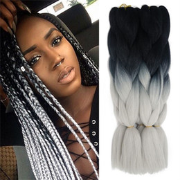 pink kanekalon braiding hair Canada - Afro 24Inch Natural Black And Pink Braiding Hair Ombre Two Tone Kanekalon Jumbo Braid Synthetic Braiding Hair For Box Extensions