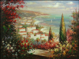 mediterranean canvas art NZ - Mediterranean Scene Houses By Shore Sailboat on Sea,Hand-painted Landscape Art oil painting On Canvas,Multi sizes Free Shipping Ls046