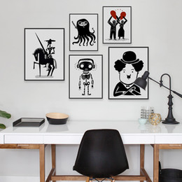 Funny Art Pictures Canada - Modern Minimalist Black White Chaplin A4 Art Prints Posters Funny Hippie Wall Pictures No Framed Canvas Painting Bar Decoration