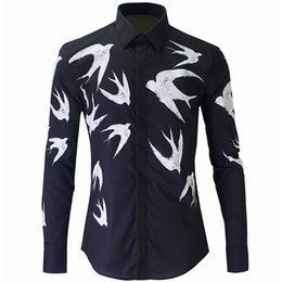 Wholesale- New Black Shirt Men Chemise Homme 2016  Fashion Swallow Printed Slim Fit Long Sleeve Mens Dress Shirts Casual Cotton Shirt