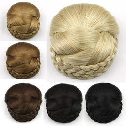 braided buns black hair Canada - Wholesale-Braided Clip In Hair Bun, Chignon Hairpiece, Donut Roller Bun Hairpiece, 1pc