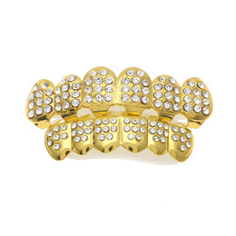 White Gold Grillz Canada - 14K Gold Plated ICED OUT CZ Teeth GRILLZ Top Bottom Tooth Caps Hip Hop Bling NEW