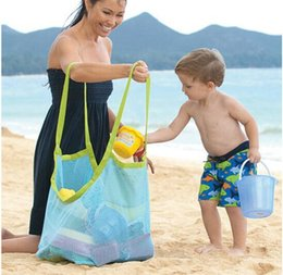 $enCountryForm.capitalKeyWord NZ - Children Toy Collection Bag Mesh Beach Bags for Kids Sand Away Clothes Towel Outdoor Organizer Storage Bags Baby 45*30*45cm