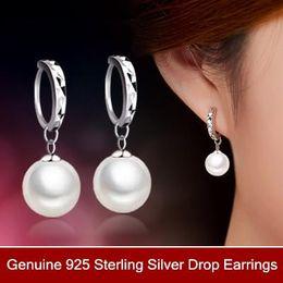 $enCountryForm.capitalKeyWord Canada - 925 Sterling Silver earrings Elegant big pearl long double earrings A-L 925 Sterling Silver bridal Wedding dangle brinco prata Jewlery gift