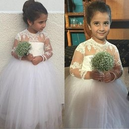 $enCountryForm.capitalKeyWord Canada - Vintage 2016 Girl Pageant Dresses A Line Sheer Small Neck Illusion Long Sleeves Lace Appliques Soft Tulle Flower Girl Gowns for Wedding